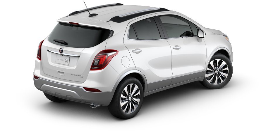 2021 Buick Encore Preferred FWD, 3/4 Passengers side rear view in Summit White