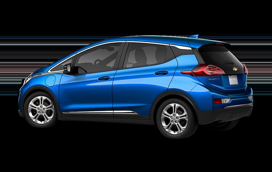 2021 Chevrolet Bolt EV LT, 3/4 drivers side back view in Kinetic Blue Metallic