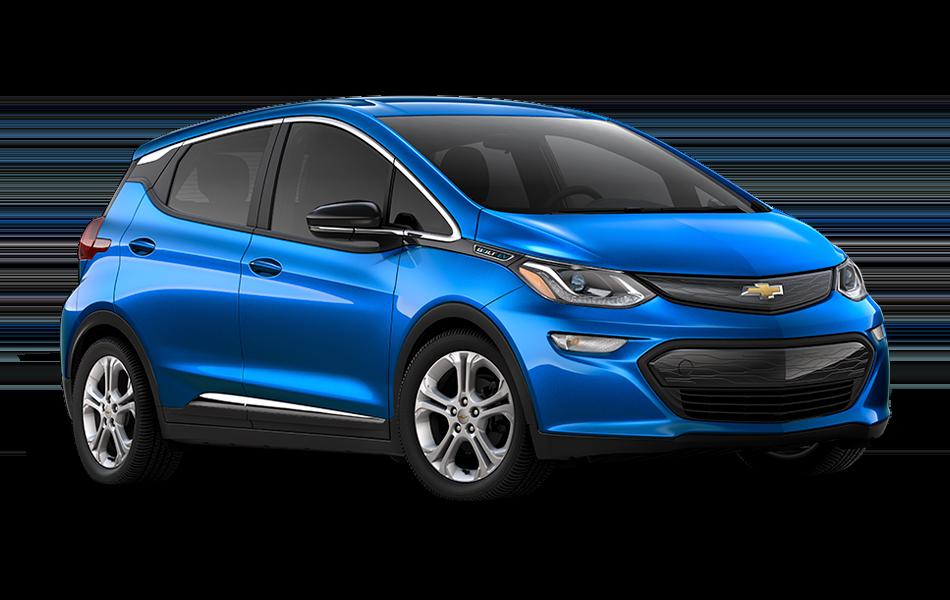 2021 Chevrolet Bolt EV LT, 3/4 passenger side Front view in Kinetic Blue Metallic
