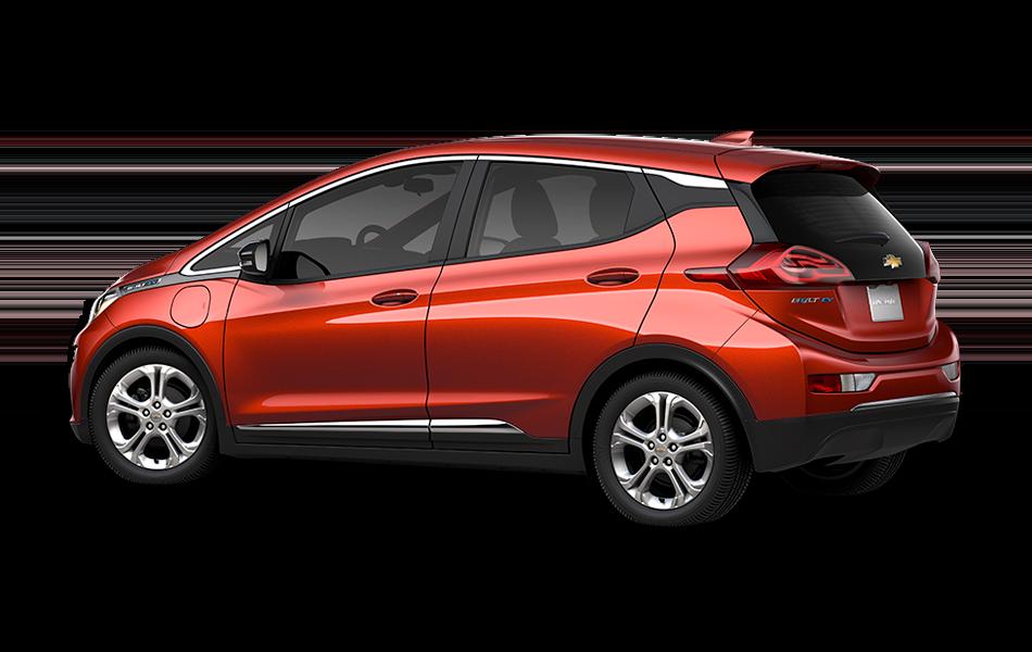 2021 Chevrolet Bolt EV LT, 3/4 drivers side back view in Cayenne Orange Metallic