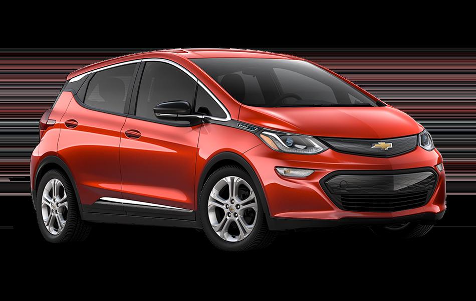 2021 Chevrolet Bolt EV LT, 3/4 passenger side Front view in Cayenne Orange Metallic