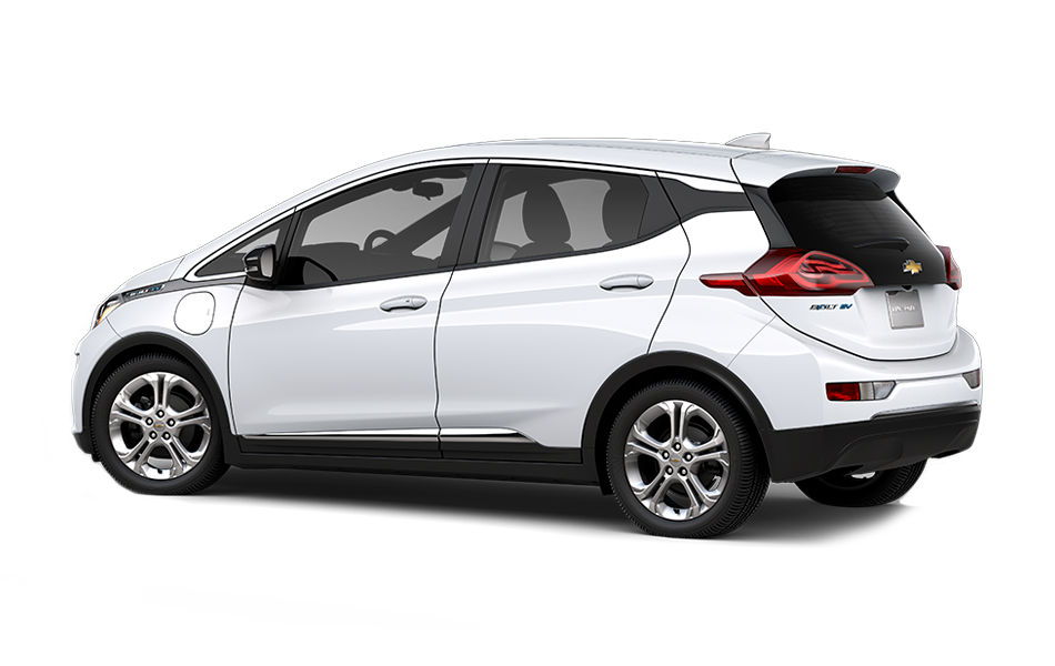 2021 Chevrolet Bolt EV LT, 3/4 drivers side back view in Summit White