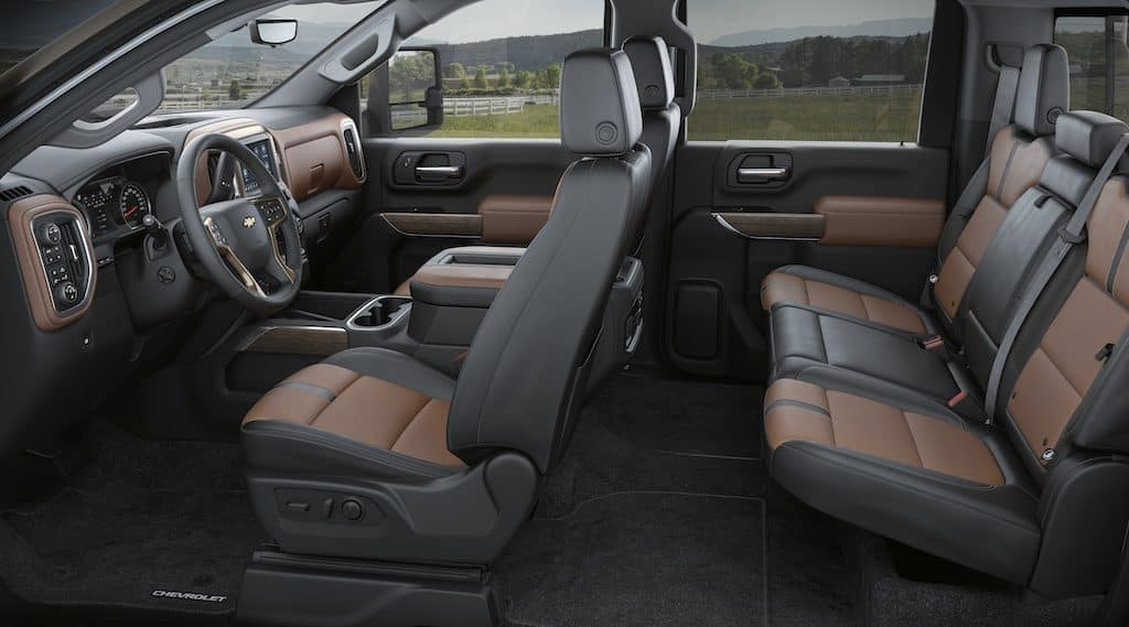 Silverado 2500 HD Crew Cab High Country interior in Jet Black with Umber accents