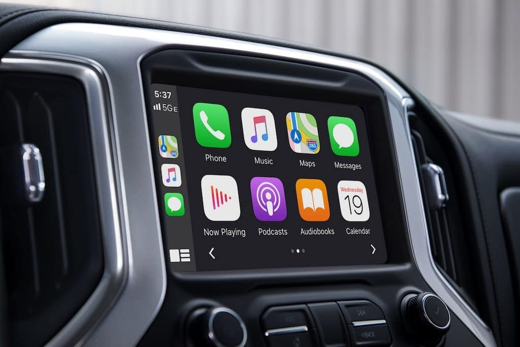 Chevrolet Silverado 1500 Apple CarPlay icons displayed on the Chevrolet infotainment System color touch-screen Interior