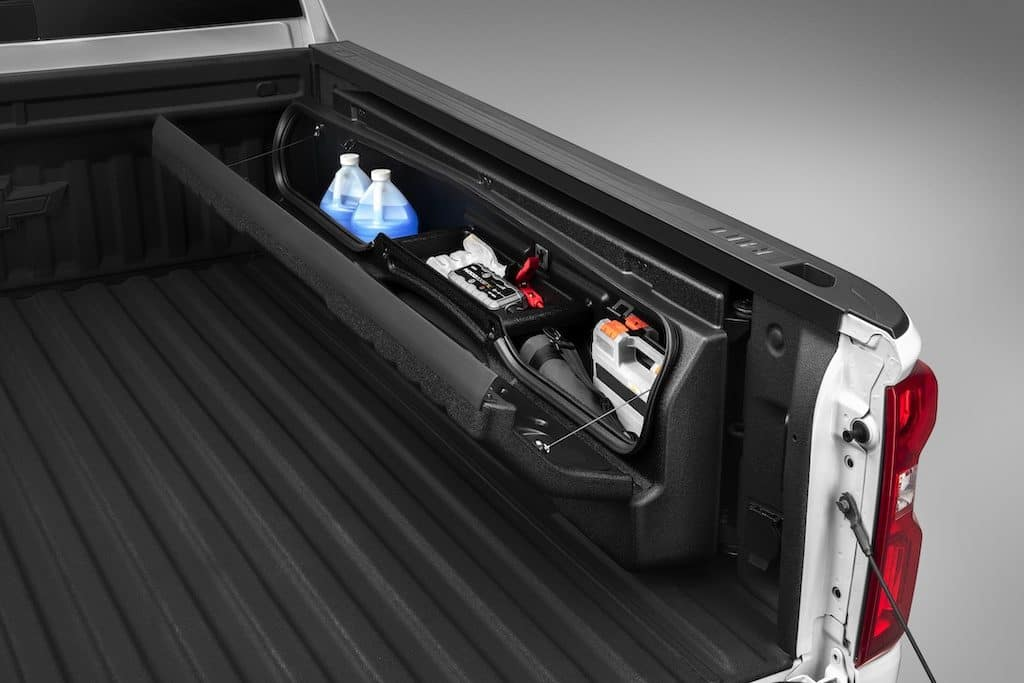 Chevrolet Silverado 1500 Bed Side-Mounted Bed Storage Box in Black with Codeable Key Accessory
