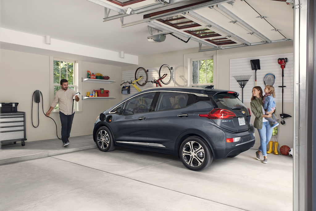 chevy bolt in garage couple charging