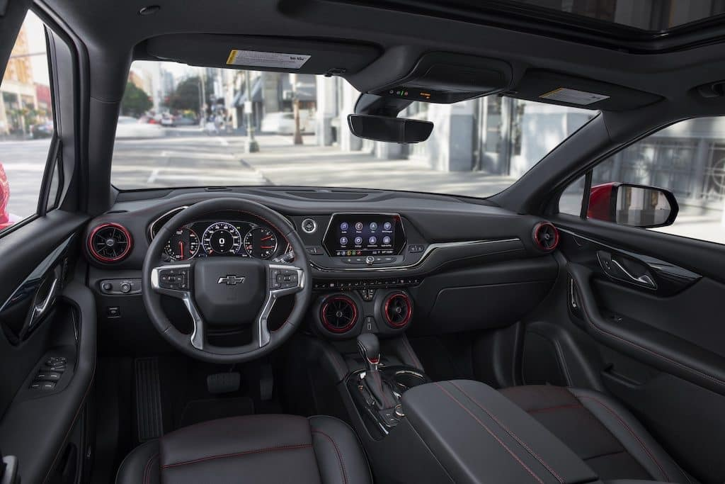 2021 Blazer RS interior. Front passenger compartment seating and dashboard