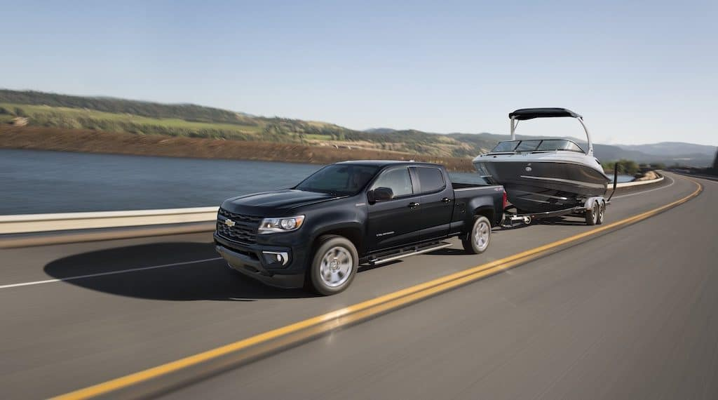 2021 Chevy Colorado LT towing boat on trailer