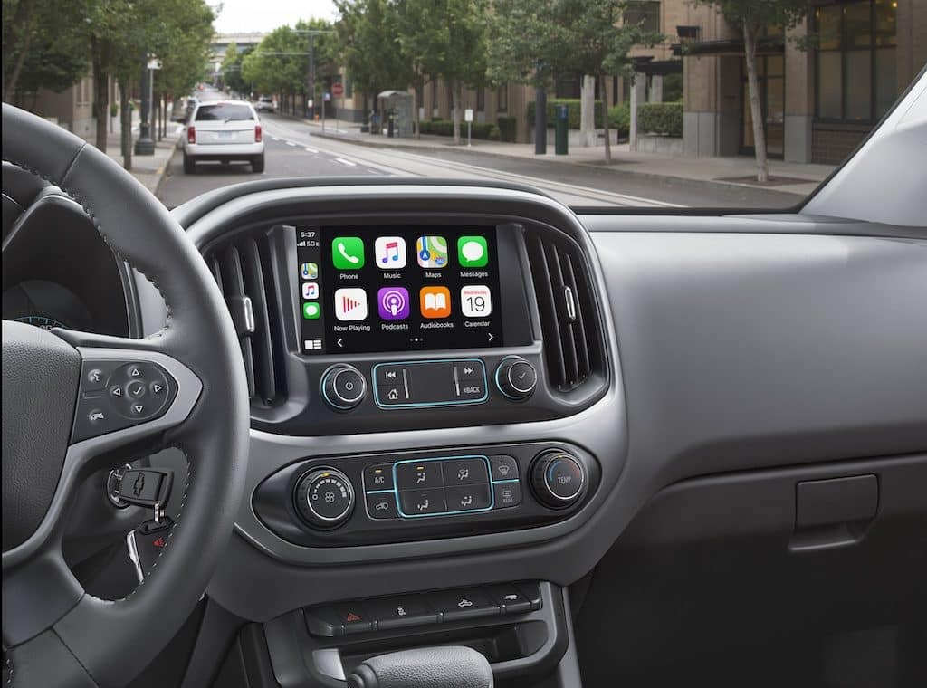 Chevy Colorado Infotainment Screen Apple CarPlay 1 integration for your iPhone (shown) and Android Auto 2 compatibility