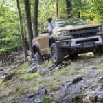 2021 Chevy Colorado ZR2 Bison in forest in Sand Dune Metallic color
