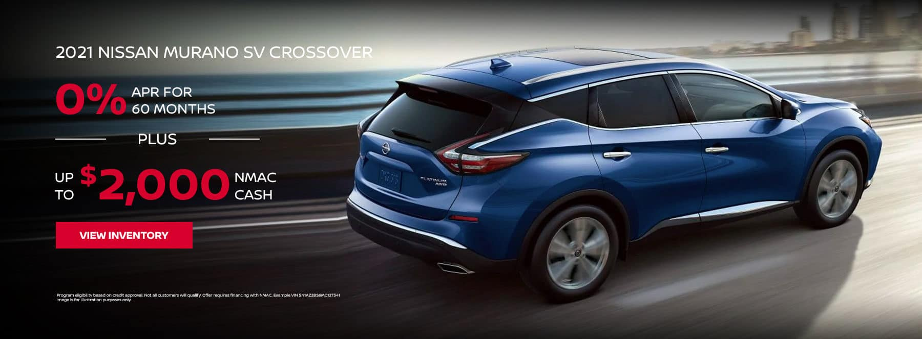 2021 NISSAN MURANO SV CROSSOVER, FINANCE FOR 0% APR For 60 Months + Up to $2,000 NMAC Cash