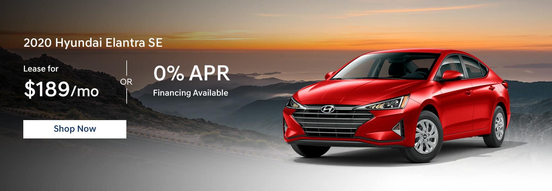2020 Hyundai Elantra Lease for $189/mo or 0% APR