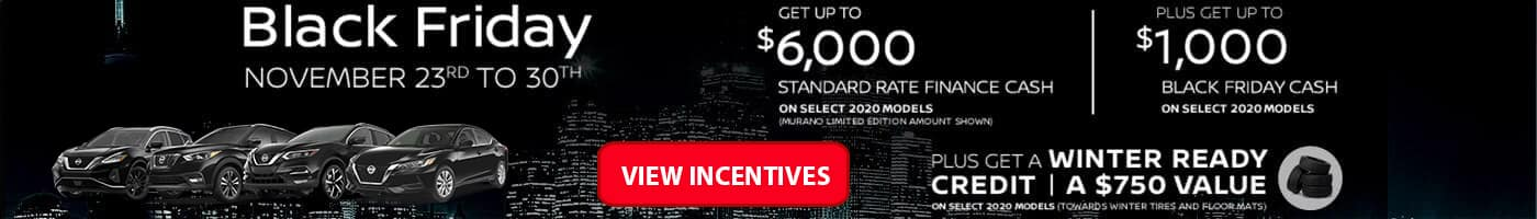 Black Friday Incentives on from November 23rd to 30th at Village Nissan in Markham