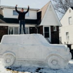Ford Bronco Snow Sculpture